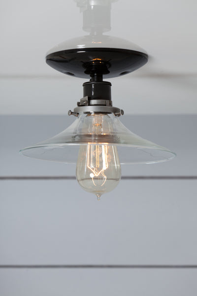 Flat Glass Shade Light Industrial Ceiling Mount Lamp