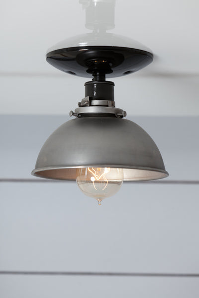 Industrial ceiling light industrial light electric steel metal dome shade light semi flush mount ceiling lighting aloadofball Choice Image