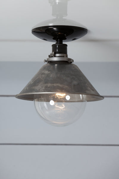 Steel Metal Shade Light Semi Flush Mount Lamp