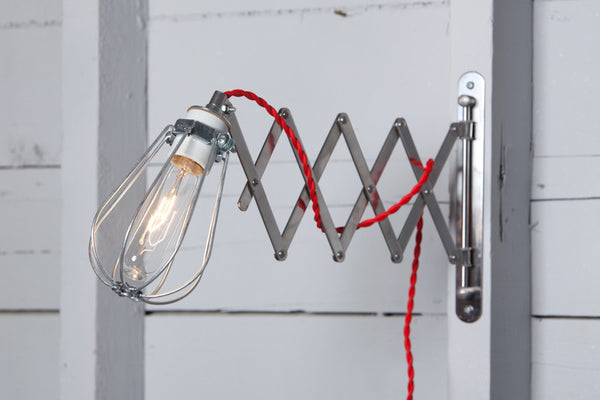 Sissor Wall Lamp - Industrial Wall Light - Wire Cage Sconce - Industrial Light Electric - 1