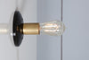 Brass and Black Bare Bulb Wall Sconce Light