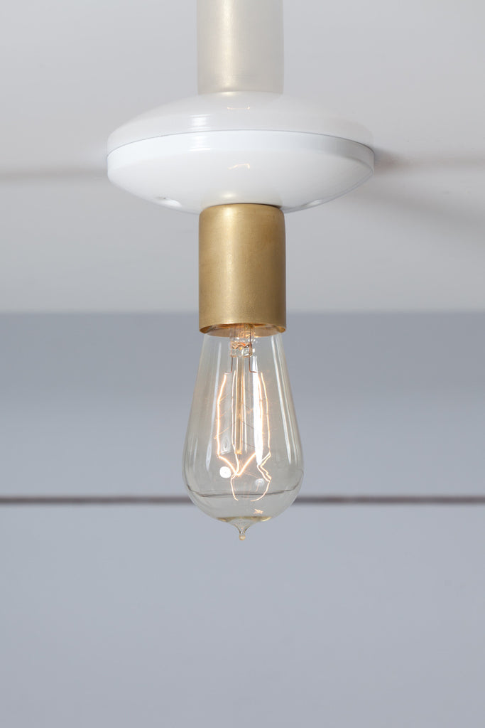Brass and White Mid Century Ceiling Light