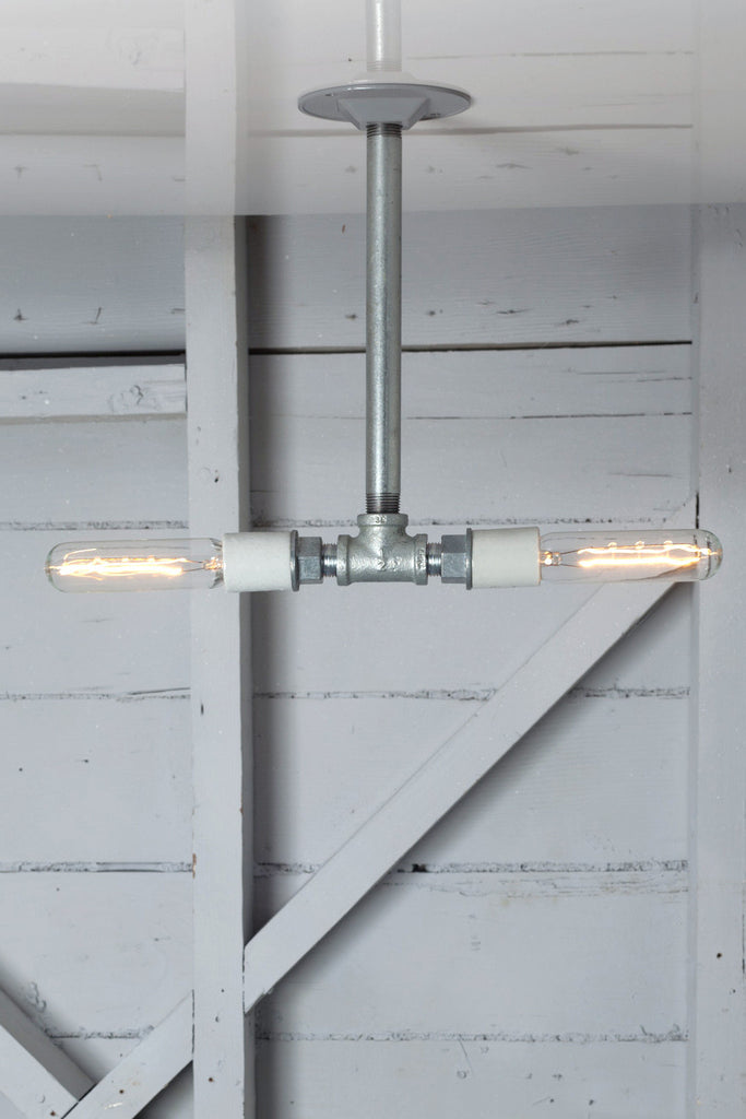 Pendant Pipe Light - Double Bare Bulb Lamp - Industrial Light Electric - 1
