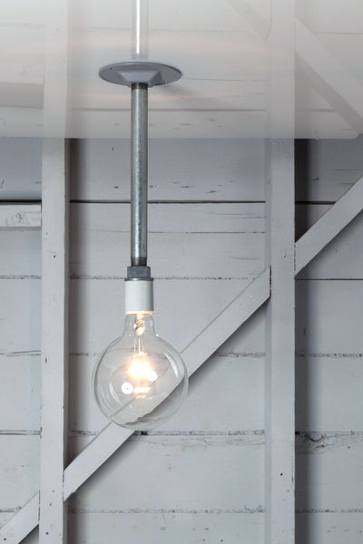 Pendant Pipe Light - Bare Bulb Lamp - Industrial Light Electric - 1