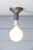 Steel Semi Flush Light - Vintage Bare Bulb Lamp - Industrial Light Electric - 1