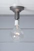 Steel Semi Flush Light - Vintage Bare Bulb Lamp - Industrial Light Electric - 4