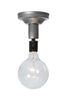 Steel Semi Flush Light - Vintage Bare Bulb Lamp - Industrial Light Electric - 8