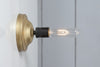 Brass and Black Mid Century Bare Bulb Wall Sconce Light