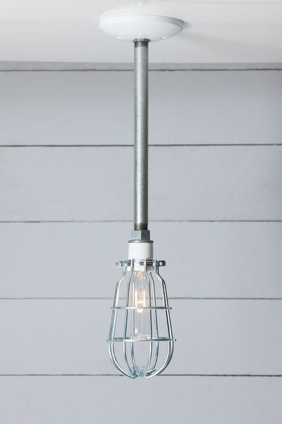 Industrial Cage Pipe Pendant Light