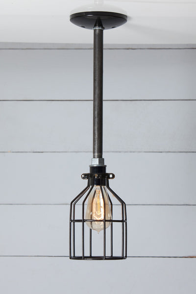 Black Cage - Pipe Pendant Light