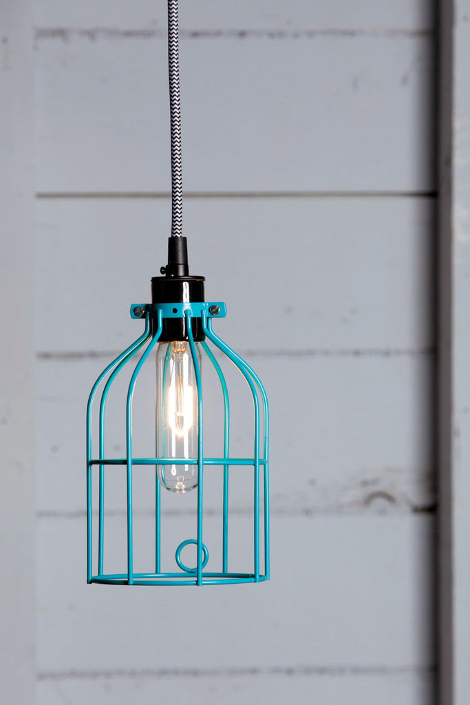 Industrial Pendant Lighting Turquoise Blue Wire Cage