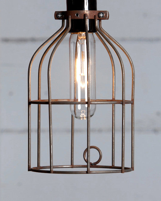Vintage Rusted Wire Cage - Industrial Light Electric
