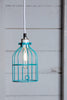 Industrial Pendant Lighting - Turquoise Blue Wire Cage Light - Industrial Light Electric - 2