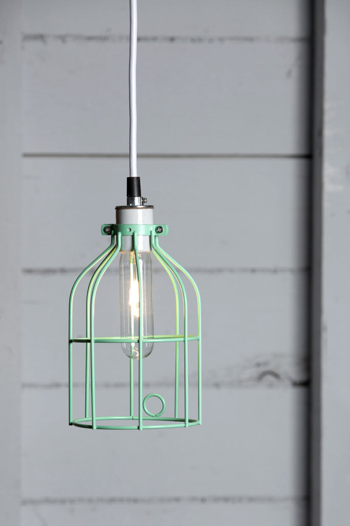 Industrial Pendant Lighting - Mint Green Wire Cage Light - Industrial Light Electric - 1