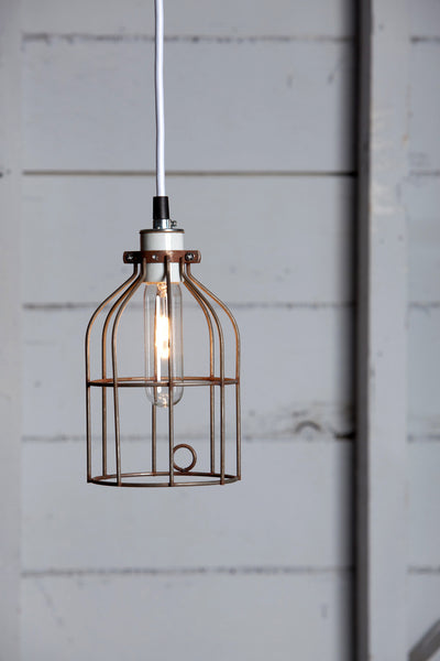 Industrial Pendant Lighting - Vintage Rusted Wire Cage Light - Industrial Light Electric - 1