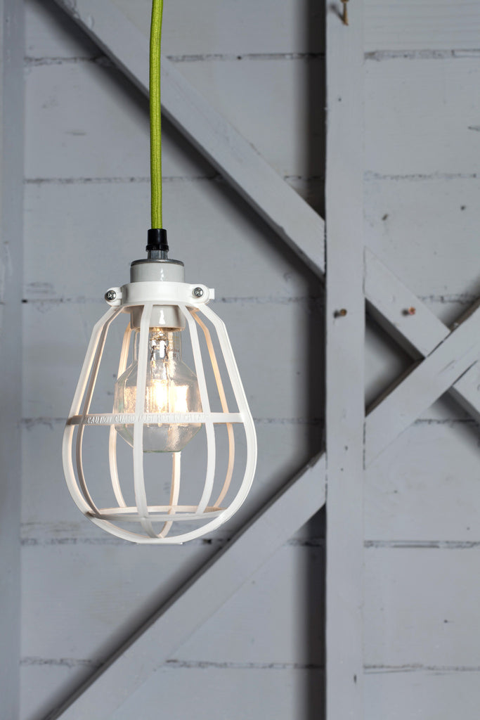 Industrial Modern Pendant - White Cage Light - Industrial Light Electric - 1