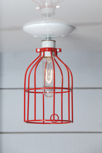 Industrial Lighting Red Cage Light Ceiling Mount