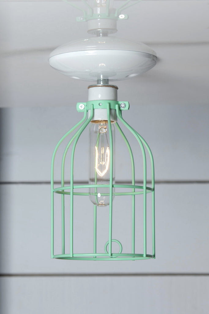 Industrial Lighting - Mint Green Cage Light - Ceiling Mount - Industrial Light Electric - 1