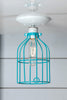 Industrial Lighting - Turquoise Blue Cage Light - Ceiling Mount - Industrial Light Electric - 2