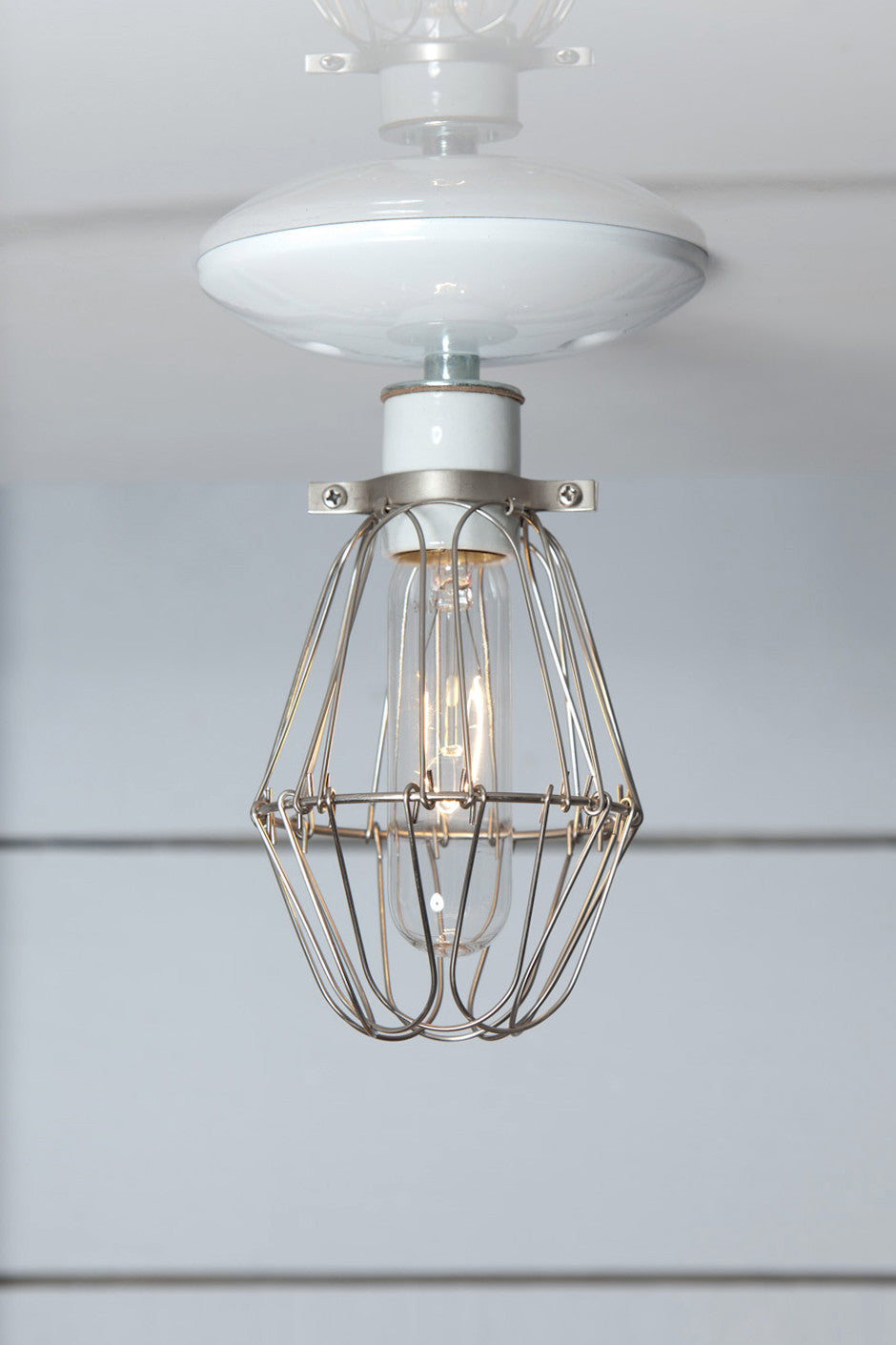 Vintage Wire Cage Light Ceiling Mount | Industrial Light Electric