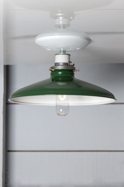 Industrial Metal Shade Light - 10in Green Shade Lamp - Semi Flush Mount - Industrial Light Electric - 1