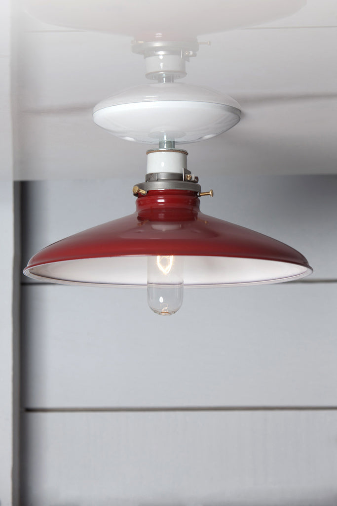 Industrial Metal Shade Light - 10in Red Shade Lamp - Semi Flush Mount - Industrial Light Electric - 1