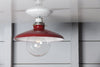 Industrial Metal Shade Light - 10in Red Shade Lamp - Semi Flush Mount - Industrial Light Electric - 2