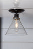 Glass Cone Shade Light - Semi Flush Mount - Industrial Light Electric - 2