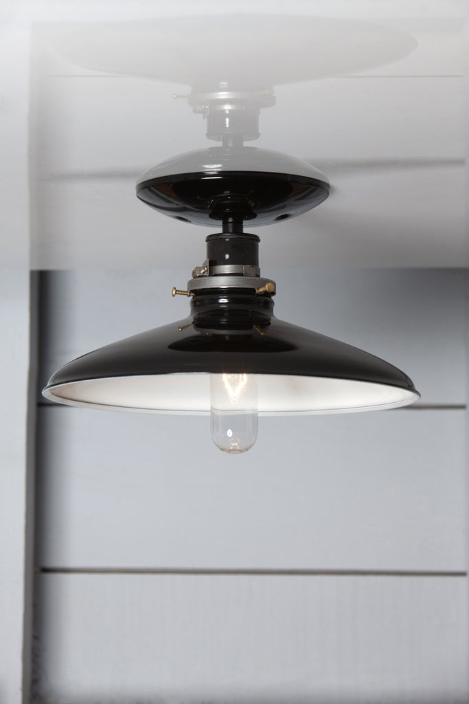 Industrial Metal Shade Light - 10in Black Shade Lamp - Semi Flush Mount - Industrial Light Electric - 1
