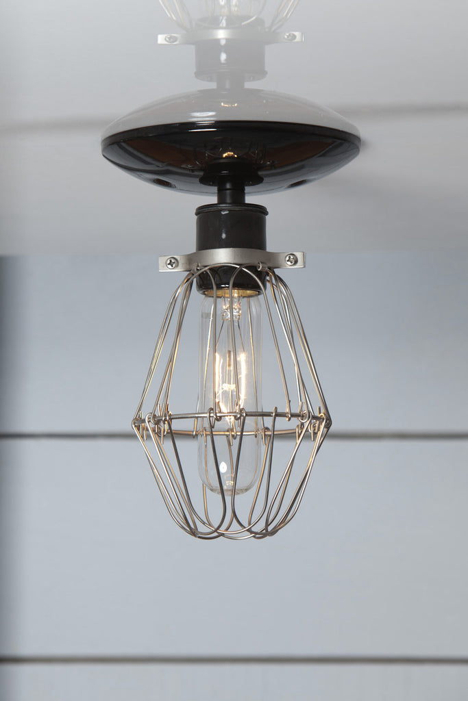 Vintage Wire Cage Light Ceiling Mount Industrial Light
