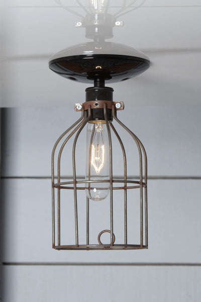 Industrial Lighting Vintage Metal Cage Light Ceiling
