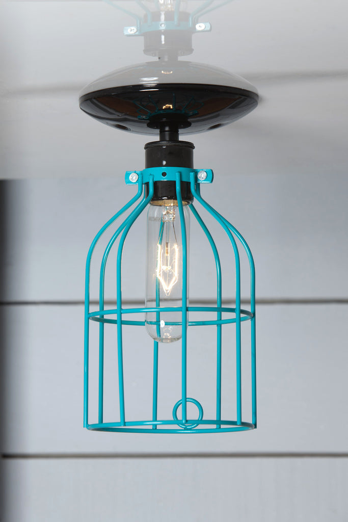 Industrial Lighting - Turquoise Blue Cage Light - Ceiling Mount - Industrial Light Electric - 1