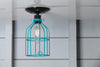 Industrial Lighting - Turquoise Blue Cage Light - Ceiling Mount - Industrial Light Electric - 3