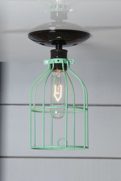 Industrial Lighting Mint Green Cage Light Ceiling