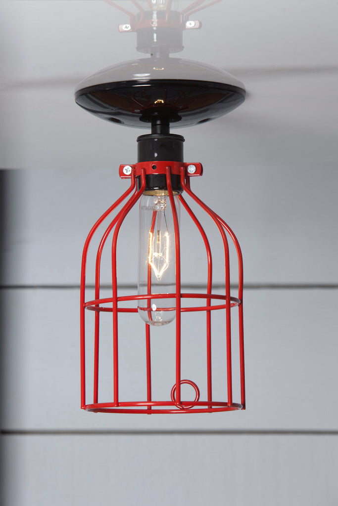 Industrial Lighting - Red Cage Light - Ceiling Mount - Industrial Light Electric - 1