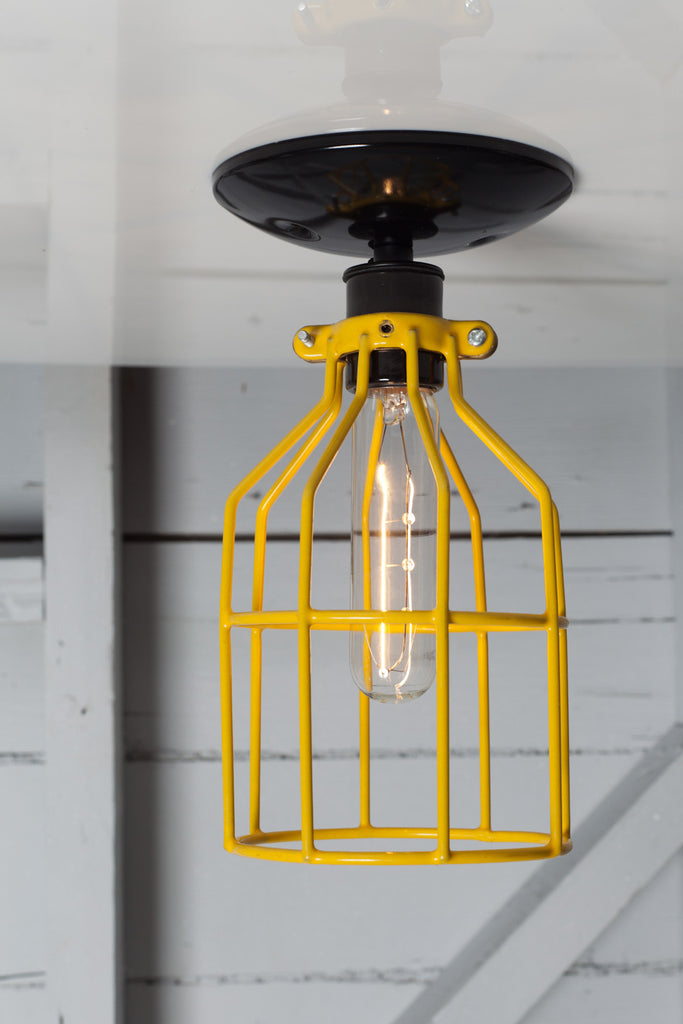 Industrial Lighting Yellow Cage Light Ceiling Mount