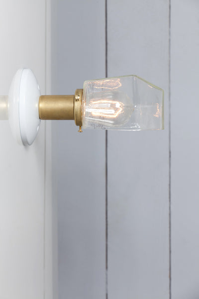 Glass Shade - Brass Wall Sconce