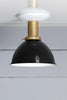 Black Shade - Brass Ceiling Mount Light