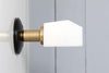 Mid Century Brass Sconce with Milk Glass