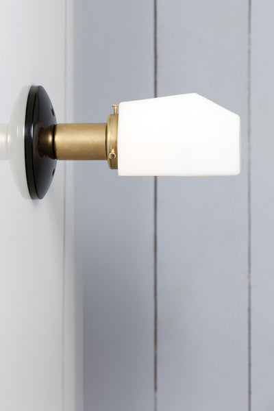 Milk Glass Shade   Brass And Black Wall Sconce