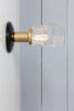 Glass Shade - Brass and Black Wall Sconce