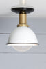 Semi Flush Mount Brass White Enamel Shade Light