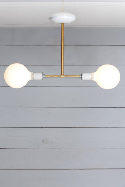 Brass Pendant Light - Double Bare Bulb Lamp