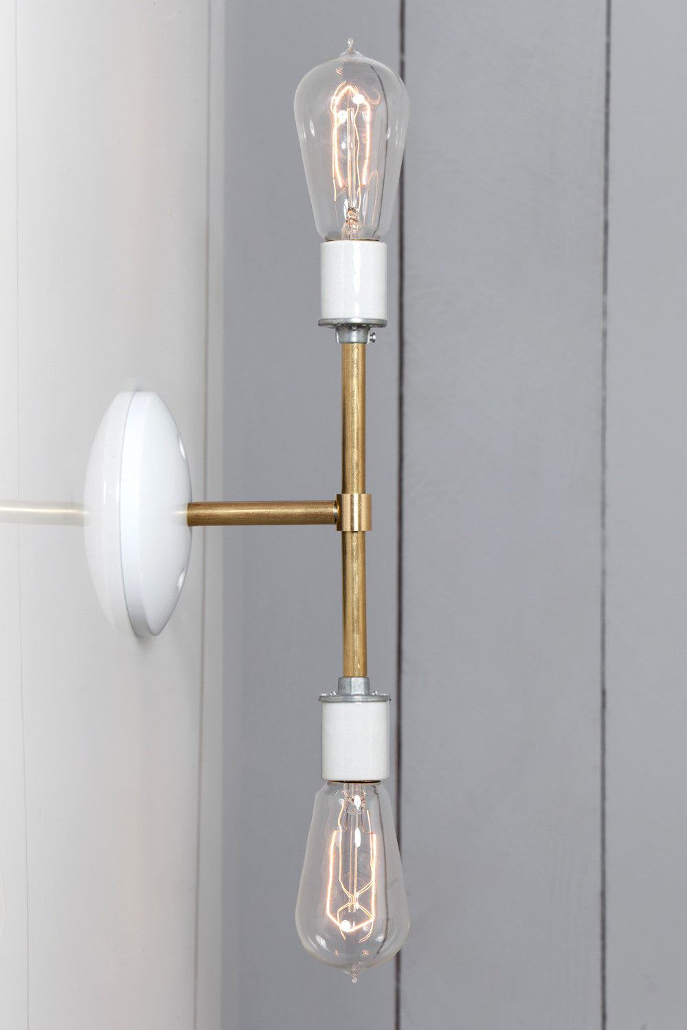 Industrial Wall Sconce Light Electric Exterior Wire Cage Lamp Brass Double Bare Bulb