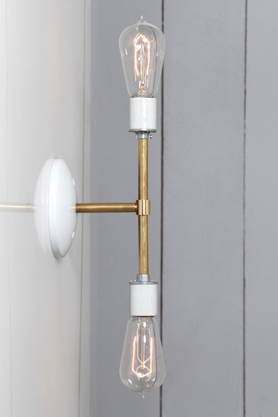Mid Century Brass Bare Bulb Sconce Light