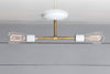 Brass and White Double Ceiling Mount Light