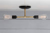 Brass and Black Double Ceiling Mount Light