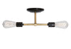 Brass Pipe Double Bare Bulb Ceiling Light