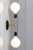 Double Brass Wall Sconce Light - Bare Bulb