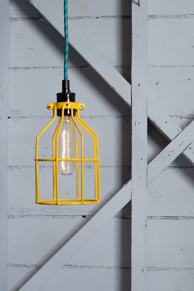 Industrial pendant lighting yellow wire cage light industrial industrial pendant lighting yellow wire cage light industrial light electric 1 mozeypictures Image collections